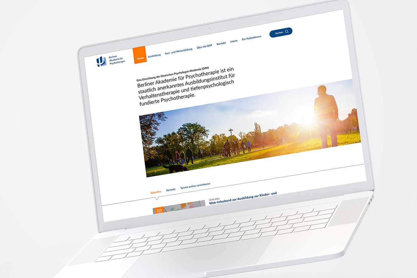 Webdesign für Berliner Akademie für Psychotherapie aus Berlin.