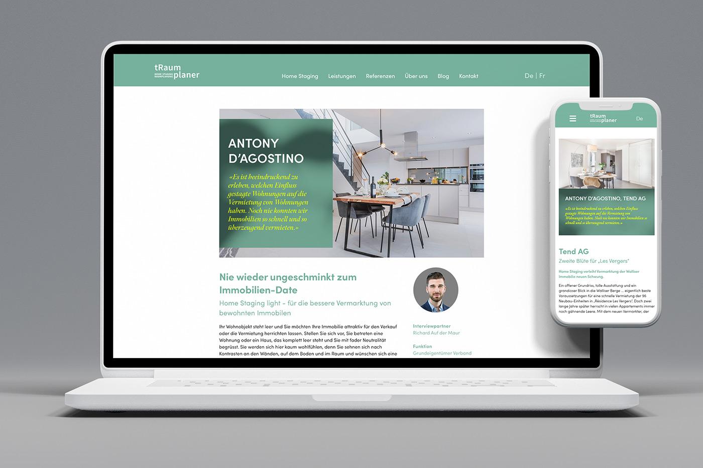 Webdesign und WordPress-Programmierung für Firma tRaumplaner GmbH aus der Schweiz